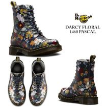 Dr Martens 1460 Flower Patterns Round Toe Rubber Sole Lace-up Casual Style