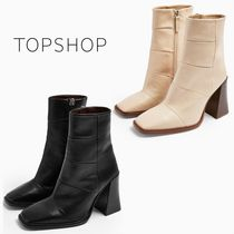 TOPSHOP Square Toe Casual Style Leather Block Heels High Heel Boots