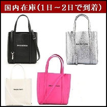 BALENCIAGA EVERYDAY TOTE Casual Style Unisex Street Style A4 3WAY Leather Totes