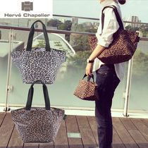 HERVE CHAPELIER Leopard Patterns Casual Style Nylon Bi-color Totes