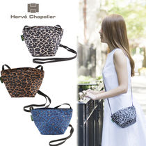 HERVE CHAPELIER Leopard Patterns Casual Style Nylon Crossbody Shoulder Bags