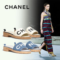 CHANEL Casual Style Blended Fabrics Plain Leather