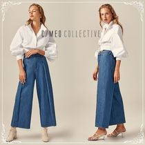 Cameo the Label Denim Plain Long Midi Elegant Style Culottes & Gaucho Pants