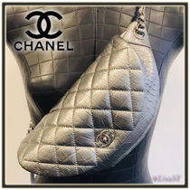 CHANEL Calfskin Chain Plain Other Animal Patterns Elegant Style