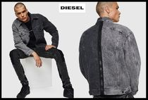 DIESEL Denim Street Style Bi-color Plain Denim Jackets Jackets