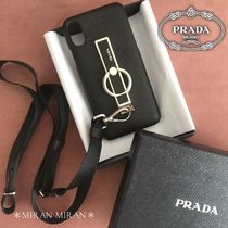 PRADA SAFFIANO LUX Plain Leather Smart Phone Cases