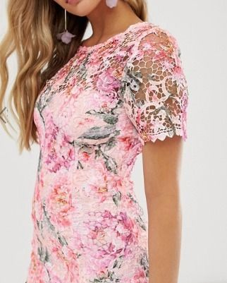 Crew Neck Short Flower Patterns Tight Short Sleeves Lace