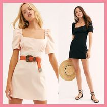Free People Short Casual Style Tight Puffed Sleeves Plain Cotton Dresses