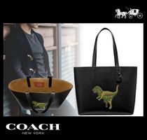 Coach Unisex A4 Plain Other Animal Patterns Leather Totes