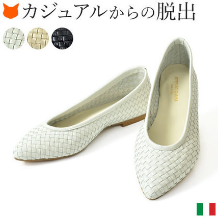 Leather Elegant Style Pointed Toe Pumps & Mules