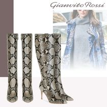 Gianvito Rossi Leather Pin Heels Python Elegant Style High Heel Boots