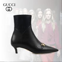 GUCCI Plain Leather Ankle & Booties Boots