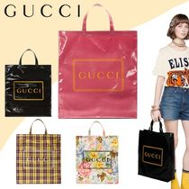 GUCCI Flower Patterns Casual Style Unisex Nylon Totes