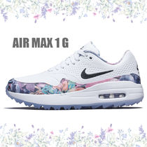 Nike AIR MAX 1 Flower Patterns Platform Round Toe Casual Style Street Style