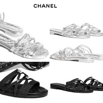 CHANEL Open Toe Plain With Jewels Elegant Style Sandals