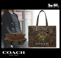 Coach Unisex Canvas A4 Other Animal Patterns Totes