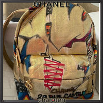 CHANEL ICON Unisex Canvas Street Style A4 3WAY Chain Backpacks