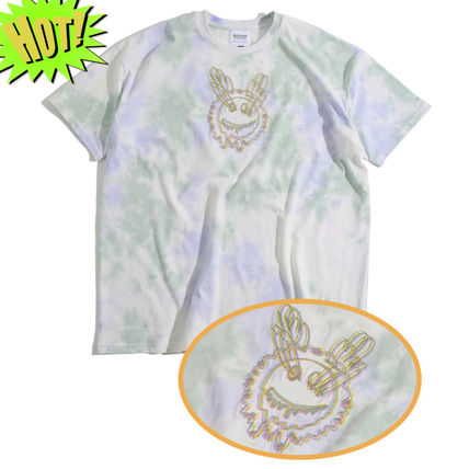 Unisex Street Style Tie-dye Cotton Short Sleeves T-Shirts