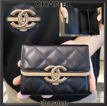 CHANEL ICON Lambskin Bi-color Plain Coin Purses