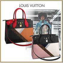 Louis Vuitton CITY STEAMER Monogram Blended Fabrics Studded 2WAY Leather Elegant Style