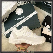 CHANEL SPORTS Plain Toe Rubber Sole Lace-up Casual Style Blended Fabrics