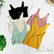 Casual Style Rib Plain Cotton Medium Tanks & Camisoles