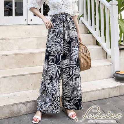 Tropical Patterns Casual Style Chiffon Bi-color Long