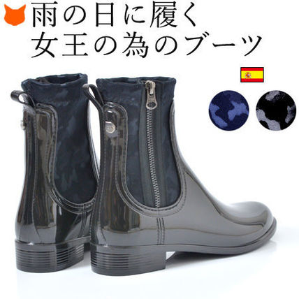Camouflage Plain PVC Clothing Mid Heel Boots