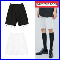 OPEN THE DOOR Casual Style Street Style Cotton Denim & Cotton Shorts