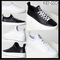 KENZO Plain Leather Low-Top Sneakers