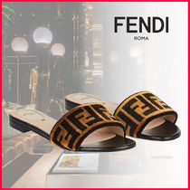 FENDI Open Toe Casual Style Leather Slippers Sandals