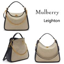 Mulberry Leighton Blended Fabrics Bi-color Leather Shoulder Bags