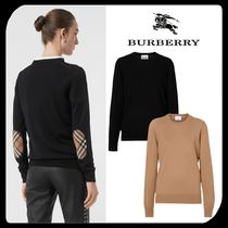 Burberry Crew Neck Other Check Patterns Wool Blended Fabrics