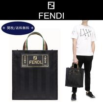 FENDI Other Check Patterns Unisex Street Style A4 Totes