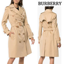 Burberry Tartan Casual Style Plain Long Trench Coats