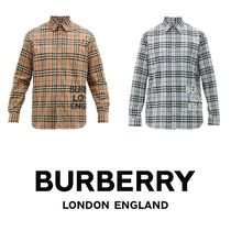 Burberry Tartan Unisex Street Style Long Sleeves Cotton Oversized