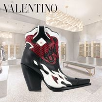 VALENTINO Cowboy Boots Casual Style Leather Block Heels Tribal Python