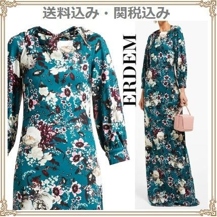 Flower Patterns Long Sleeves Long Elegant Style Dresses