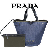 PRADA Casual Style Unisex Canvas Denim Bag in Bag A4 2WAY 3WAY
