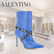 VALENTINO Casual Style Studded Bi-color Plain Leather Pin Heels