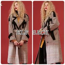 ELF SACK Other Check Patterns Casual Style Wool Blended Fabrics Long