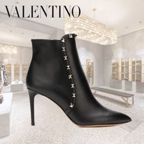 VALENTINO Studded Plain Leather Pin Heels Elegant Style
