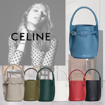 CELINE Big Bag Calfskin 2WAY Plain Office Style Khaki Totes