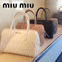 MiuMiu MATELASSE Blended Fabrics 2WAY Plain Leather Elegant Style Crossbody