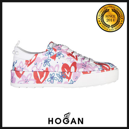 Flower Patterns Leather Low-Top Sneakers