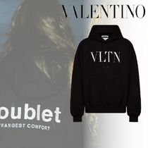 VALENTINO VLTN Street Style Collaboration Long Sleeves Cotton Logo Luxury