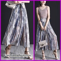 Stripes Chiffon Medium Midi Elegant Style