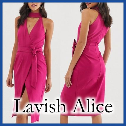 Wrap Dresses Sleeveless Plain Medium Dresses