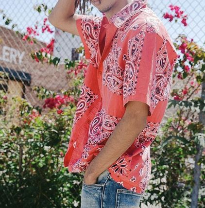 Paisley Street Style Cotton Short Sleeves Front Button