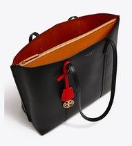 Tory Burch PERRY A4 Plain Leather Office Style Totes